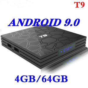 4G / 64G Smart TV Box Android 9.0 T9 4K RK3318 QuadCore 4G / 32G USB3.0 Set Üstü TV Box Opsiyon 2,4G / 5G Çift WIFI