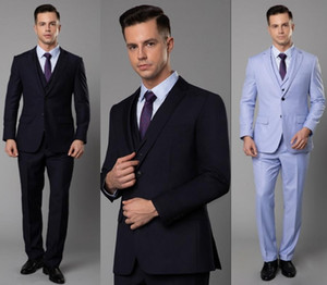 2020 High Quality Newest Mens Blazer Suits Three Pieces Notch Lapel Wedding Tuxedos Suits Formal Wear Best Mens Bridegroom Mens Suits