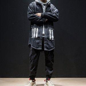 BQODQO черный деним повседневная куртка пальто для мужчин отложным воротником письмо джинсы куртки мужской хип-хоп осень колледж уличная пальто