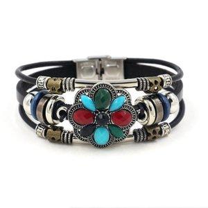 New Bohemia turquoise Stone Hollow Flower Bead Leather Bracelets For Women Men Wristband Charm Bracelets