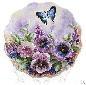 Flowers series decorative wall dishes porcelain decorative plates vintage home decor crafts room decoration figurine