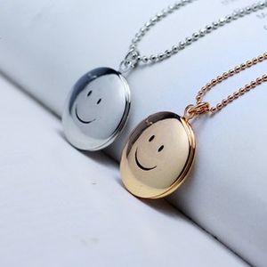 New Fashion Jewelry DIY Openable Locket Photo Box Pendant Necklace Smile Floating Locket Necklaces S761