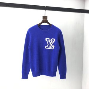 2020 France latest Autumn Winter Sweaters Chest Jacquard letters printing casual high-quality fashion men women wild top blue