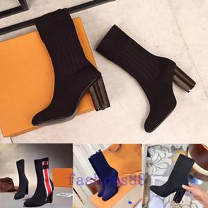 2020 mulher sexy sapatos no outono e inverno de malha elástica botas de luxo Designer curtas botas meias botas de grande tamanho 35-42 sapatos de salto alto