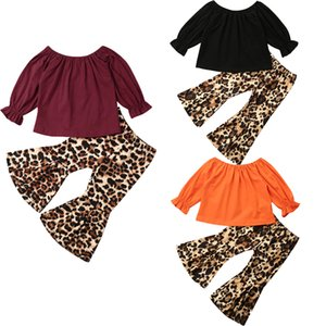 1-6Y Toddler Kids Baby Girl Long Sleeve T-shirt Tops Leopard Flare Pant Bell Bottom 2PCS Outfits Girls Clothing Set