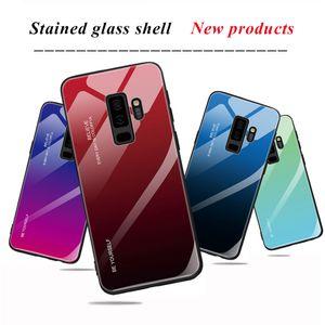 Anti-chute Gradient Coloré Téléphone Cas Anti-rayures En Verre Trempé Couverture Arrière Pour Samsung S10 S9 S8 J4 J6 A30 M30