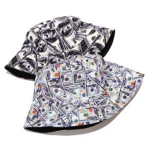 Coton double face Creative Dollar Graffiti Chapeau chapeau de pêcheur extérieur Voyage Sun Casquette pour les femmes