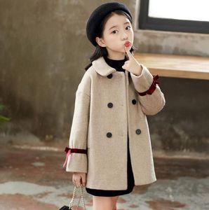 رمادي الأطفال معطف الفتيات الخريف والشتاء ملابس الشتاء الصوف الخالص معطف مبيعات المصنع شحن مجاني