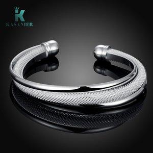 5pcs Free Shipping Wholesale Silver Jewelry Silver bracelet Bangle Cuff Women Adjustable Silver Bracelet Birthday Gift KASANIER