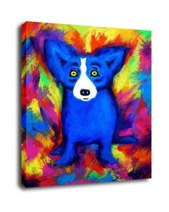 George Rodrigue Animal Blue Dog,Oil Painting Reproduction High Quality Giclee Print on Canvas Modern Home Art Decor G003