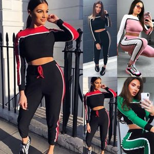 2Pcs Women Yoga Tracksuit Cropped Hoodies Sweatshirt Pants Sets Female Long Sleeve Slim Fit Yoga Sport Striped Suits