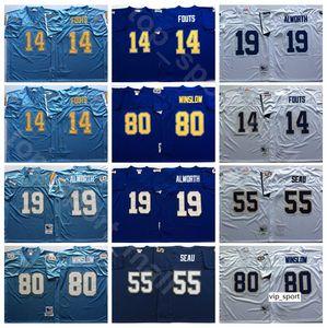 NCAA كرة القدم 55 جديد Seau 14 دان فوتس الفانيلة 19 لانس ألوورث 80 كيلين ينسلو اللون الأزرق الأرجواني الرجل الأبيض خمر مخيط جيد