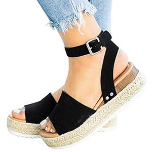Casual Wedge plate-forme épais Bas Sandales corde Boucle romaine fermeture Mode poisson Bouche ouverte dames Chaussures d'été Toe