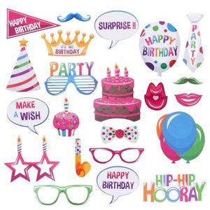 1Set 생일 파티 장식 22 PC Happy Birthday Photo Booth Props 생일 축하를위한 재미있는 창조적 인 생일 장식