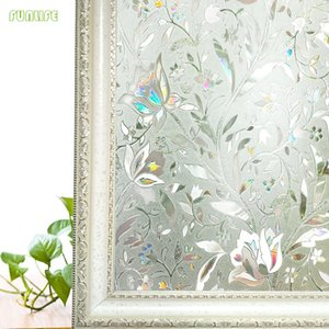 Arcobaleno Effetto tulipano Fiore decorativo Window Film 3D statico sulla autoadesivo di vetro Adesivi Per UV Blocking Heat Control