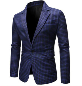 Plaid Print Mens Designer Blazers Fashion Panelled Single Button Business Gentleman Formal Coats Casual Males Clothing