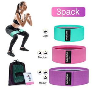 SGODDE 3 ADET HIP BAND YOGA Direnç Band Geniş Spor Egzersiz Bacaklar Elastik Döngü Daire Squats Eğitim Anti Kayma Rulo