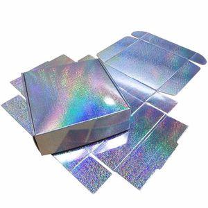 Parti Kutu 10x10x3cm Ücretsiz Kargo Favor Packaging 20pcs / lot Mikro Nokta Holografik Hediye Kutusu Gümüş Lazer