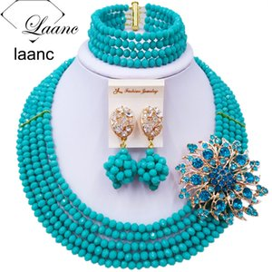 Laanc Handmade Aqua Blue Crystal Beaded Necklace Nigerian Wedding African Beads Jewelry Set for Women 5DS001