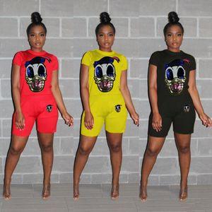 Diseñador de dos piezas de la chándales Tops de las lentejuelas impresión de la historieta camisetas del motorista desgaste fijan Ensemble Hembra ropa de verano para mujer Trajes Home Use