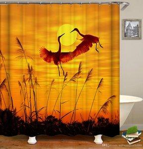 165 * 180cm 180 * 180cm fredda impermeabile pappagalli Cocks Uccelli Gru modello Progettato stampa digitale Bagno Doccia tenda della finestra con ganci