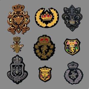 GUGUTREE India patch di ricamo di seta corona ape esercito rango di patch degli animali dei cartoni animati badge patch applique per l'abbigliamento SK-37