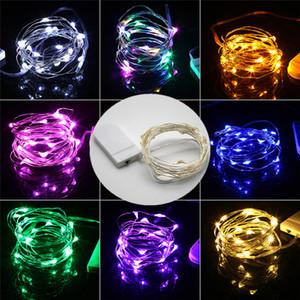 LED-String-Licht 1M 2M Silberdraht Lichterketten für Garland Startseite Weihnachten Hochzeit Dekoration Angetrieben durch Batterie CR2032