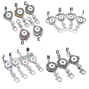 Noosa Snap Düğme Takı çekin Anahtarlık Rhinestone Aşk Kalp 18mm Snap Buton Anahtar Zincirler DIY Keyrings Anahtarlık Sahipleri İpi