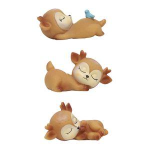 3pcs Deer Figuren Spielzeug Desktop Home Dekoration Silikon Fawn Ornament