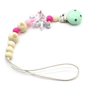 Sucette bébé chaîne Clip de perles en bois factice clip Chupetas Sucette Croquer Pacifier Clips Licorne Perles Porte corde Antichute