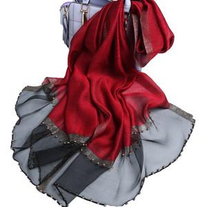 Wollschal Ms hochwertiger manueller Perle Seidenschal Volltonfarbe Spleiß Wilder Schal Schal neuer Stil