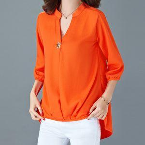 Fashion-TEAEGG برتقالي الشيفون بلوزة قميص المرأة 2018 طويلة الأكمام لربيع وصيف المرأة قمم والبلوزات laides زائد الحجم القمم AL961