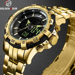 Top Brand GOLDENHOUR Luxury Men's Watch Automatic Clock Sport Watches Digital Military Man Wrist Watch Relogio Masculino Dourado