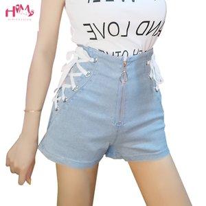 Summer High Waist Denim Shorts For Women Blue Black Sexy Bandage Short Jeans Korean Style Harajuku Fashion Lace Up Shorts Femme Y200511