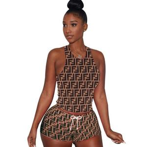 Moda donna abbigliamento abiti senza maniche 2 pezzo set sexy stampato tuta da jogging tuta sportiva felpa tuta sportiva vestito klw0520