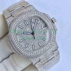 Melhor Qualidade Diamond Watch 5719 Movimento automático relógio impermeável Man 40 milímetros inoxidável 316 varredura Mover Set Diamante Iced Out Assista