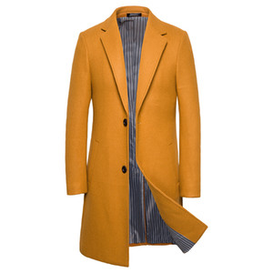 Manteau d'hiver de laine de tranchée simple de trench des hommes d'hiver 2019 AOWOFS hommes occasionnel mince long manteau d'habillement de laine grande taille M-5XL J1906173