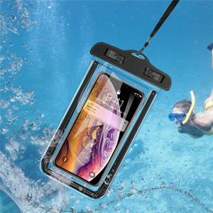 Luminosa impermeable sellado del teléfono móvil de la caja del claro de PVC celular Submarino Móvil Piscina cubierta de la bolsa Bolsa de aire caliente bolsas flotantes impermeables
