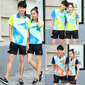 New Victor Badminton desgaste conjuntos, poliéster respirável de secagem rápida de tênis de mesa Jersey camisetas, shorts Badminton e camisa de ternos sets