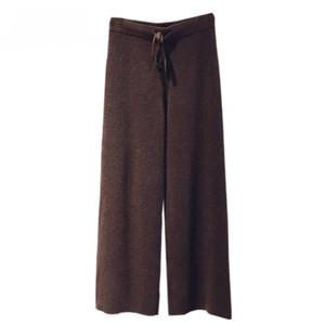 Lana de cachemira Mezcla de poliéster de punto manera de las mujeres pierna ancha pantalones de cordón cintura alta pantalones rectos S-2XL