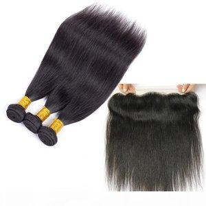 Brazilian Glattes Haar Bundles mit Closure Großhandel Menschenhaar Tressen Mit 13x4 Spitze Frontal Closure Remy Menschenhaar-Verlängerungen FASTYLE