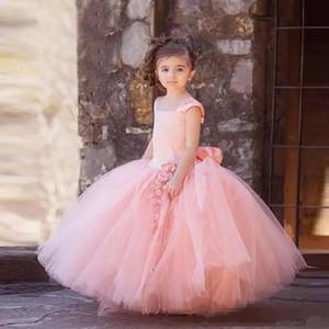 Principessa Flower Girl Dresses 2019 con Puffy Tulle Skirt Ragazze Prom Party Dress Lunga lunghezza del pavimento Bambini Abiti formali Abiti prima comunione