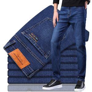 2020 Новый Мужские джинсы Бизнес Упругие силы Мода синий черный Denim Брюки Новые мужские Clasic Midweight Stretch Fit