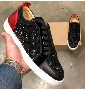 Top Luxury Rantolow Black Strass Stras Stress Fondo Red Junior Sneakers Scarpe Low Top Men Brand Casual Outdoor Sport da donna EU47A BOX