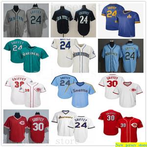 2016 Hall Of Fame Vintage Baseball Ken Griffey Jr. Maillots Cousu Sarcelle Rouge Seattle 30 Griffey Jr. Maillots Homme Femmes Enfants Jeunes