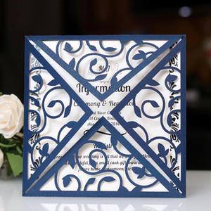 2019 Nouvelle carte d'invitation de mariage enveloppe creuse invitations de haute qualité ceinture de poche invitations coupées au laser carrés