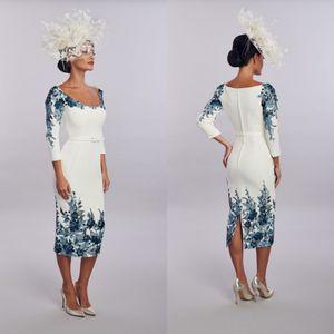 Novità Guaina House Of Mooshki Madre della Sposa Abito gioiello collo manica lunga raso di Applique Wedding Guest Dresss Tea Evening Gown