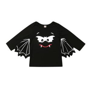 1-5 anni del bambino del bambino T-shirt manica lunga supera nero Baby Boy T-shirt di Halloween Cartoon Bat costume Pullover bambini maglietta dei ragazzi parti superiori