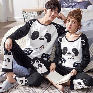 New Inverno Algodão Pajama Define Casais manga comprida masculina Pijamas Rodada Mulheres Neck Pijamas Pijama Pijama de Men Pijamas Homewear