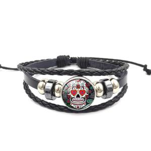Sucre mexicain Tête de mort Snap Button Charm bracelet 18mm En Verre Cabochon Gingembre Snap Multicouche Tressé Corde bracelet Pour femmes hommes Bijoux De Mode